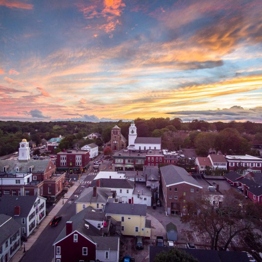 Aerial View of Plymouth, MA Photo: Hawk Visuals