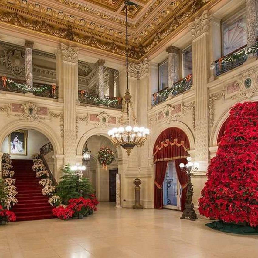 Holiday lights Newport Mansions